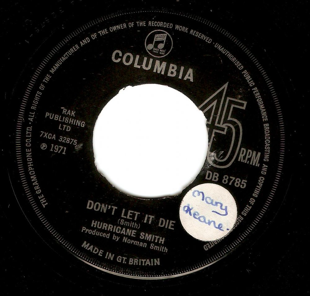 HURRICANE SMITH Don't Let It Die Vinyl Record 7 Inch Columbia 1971